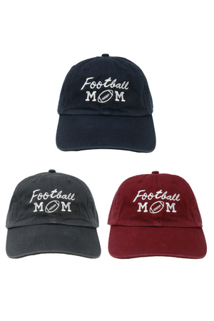 "LCAP759- ""Football Mom"" Embroidery Washed Baseball cap - David and Young Fashion Accessories"