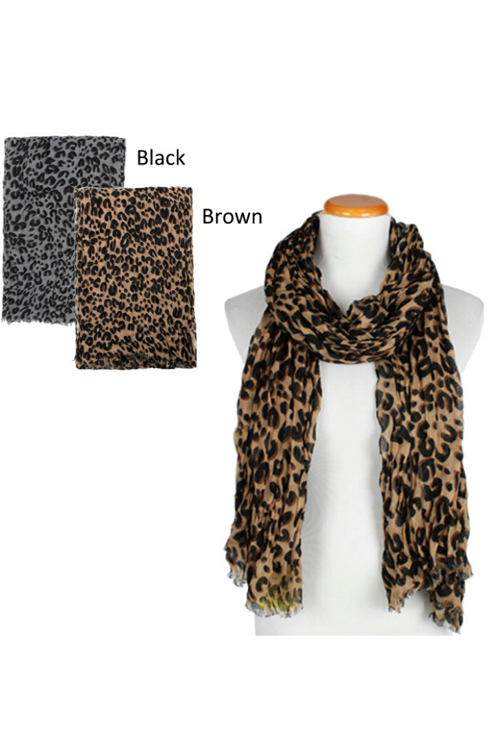 "ASF3538 - Crinkled Leopard Light Weight Scarf 35""x80"" - David and Young Fashion Accessories"