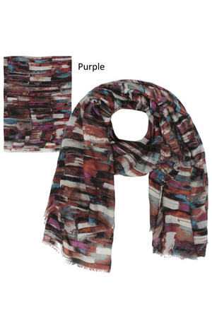"ASF8003 - Brush Stroke Print Lightweight Scarf 35""x70"" - David and Young Fashion Accessories"