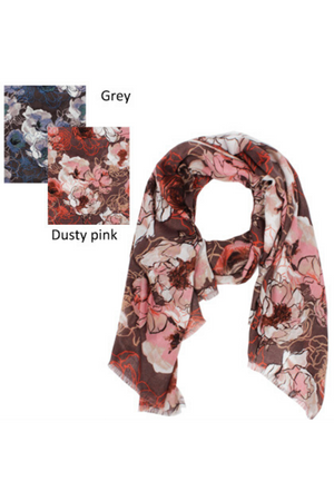 "PTSF4182 - Watercolor Floral Lightweight Scarf 35""x70"" - David and Young Fashion Accessories"