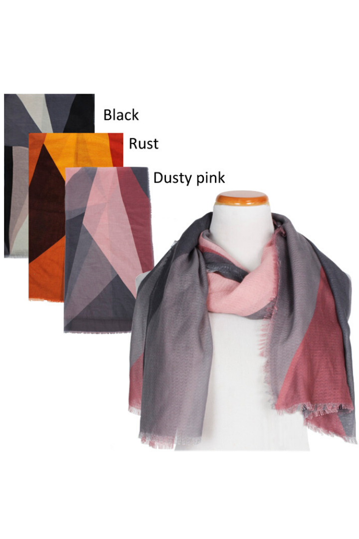 "PTSF601 - Colorblock Lightweight Scarf 35""x70"" - David and Young Fashion Accessories"