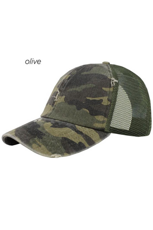 FWCAPM6101 - Washed Camo Distressed Mesh Back Cap - David and Young Fashion Accessories