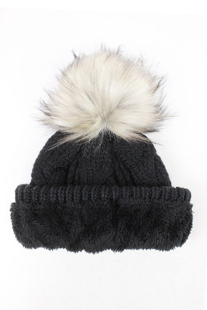 FSBB09061 - Cable Knit Cuffed Beanie with Faux Fur Pom & Lining - David and Young Fashion Accessories