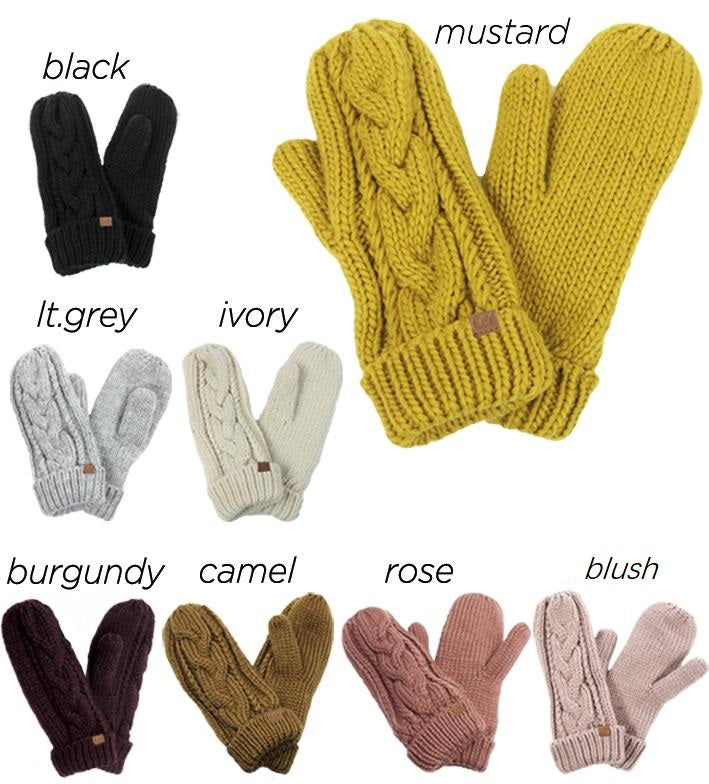 FSMT0906 - Cable Knit Mittens W/ D&Y Tab