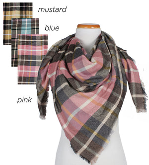 "FSSFQ141 - Plaid square scarf ""44x44"" - David and Young Fashion Accessories"