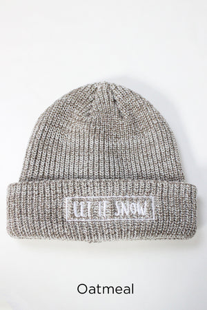 "FWBB0410 - Marled Knit Beanie ""Let It Snow"" - David and Young Fashion Accessories"