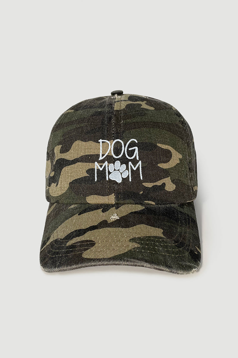 "FWCAP1025 - ""Dog Mom"" Embroidery on Camo Distressed Body"