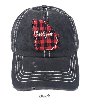 "FWCAP2003GA - Buffalo Plaid Patch ""Georgia"" Map Thick Stitch Baseball Cap - David and Young Fashion Accessories"