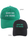 "FWCAP93 - ""Kiss Me I'm Irish Cotton"" Embroidery Cap with Adjustable Buckle Closure - David and Young Fashion Accessories"