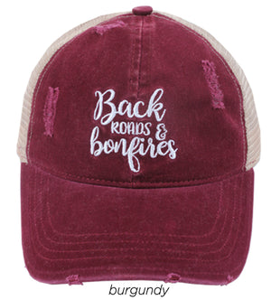 "FWCAPM631 - ""Back Roads & Bonfires"" Embroidery Distressed Mesh Back - David and Young Fashion Accessories"