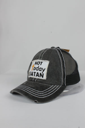 "FWCAPM691 - ""Not Today Satan"" Patch Mesh Back with Plastic Adjustable Closure - David and Young Fashion Accessories"