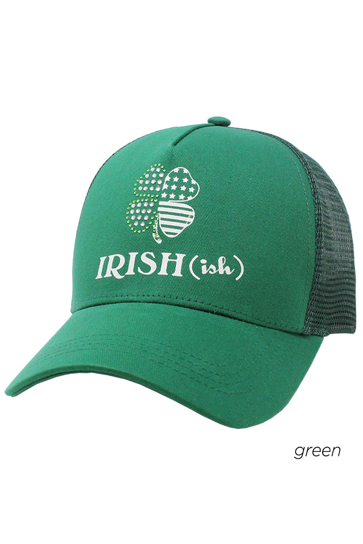 "FWCAPM928 - ""Irish-ish"" Verbiage with Bling Shamrock Mesh Back Cap - David and Young Fashion Accessories"