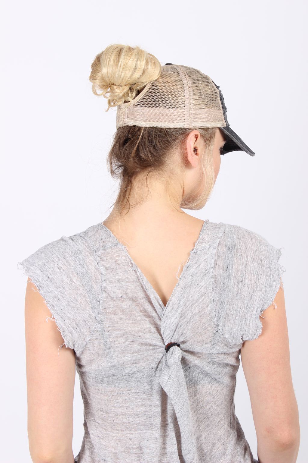 FWCAPMT472 - Distressed Mesh Back Ponyflo Cap - David and Young Fashion Accessories