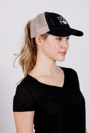 "FWCAPMT568 - Mesh Back Ponyflo Cap with ""Dog Mom"" Embroidery - David and Young Fashion Accessories"