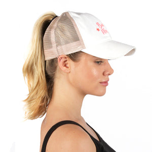 "FWCAPMT927 -  Mesh Back Ponyflo Cap with ""Beach Please"" Embroidery - David and Young Fashion Accessories"