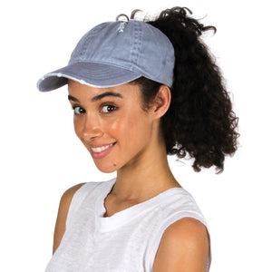 FWCAPT474 - Distressed Cotton Ponyflo Cap - David and Young Fashion Accessories