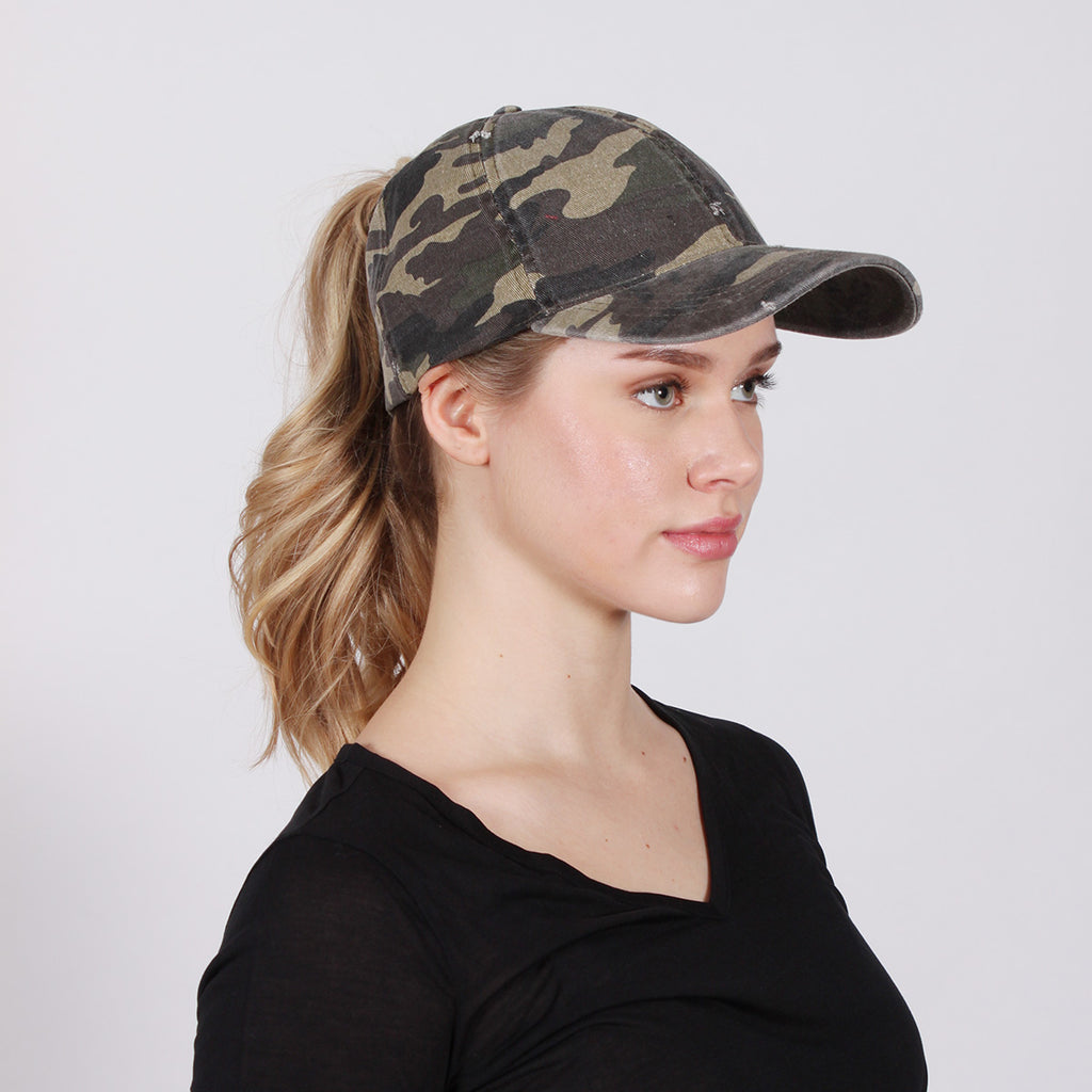 FWCAPT609 - Camo Ponyflo Cap - David and Young Fashion Accessories