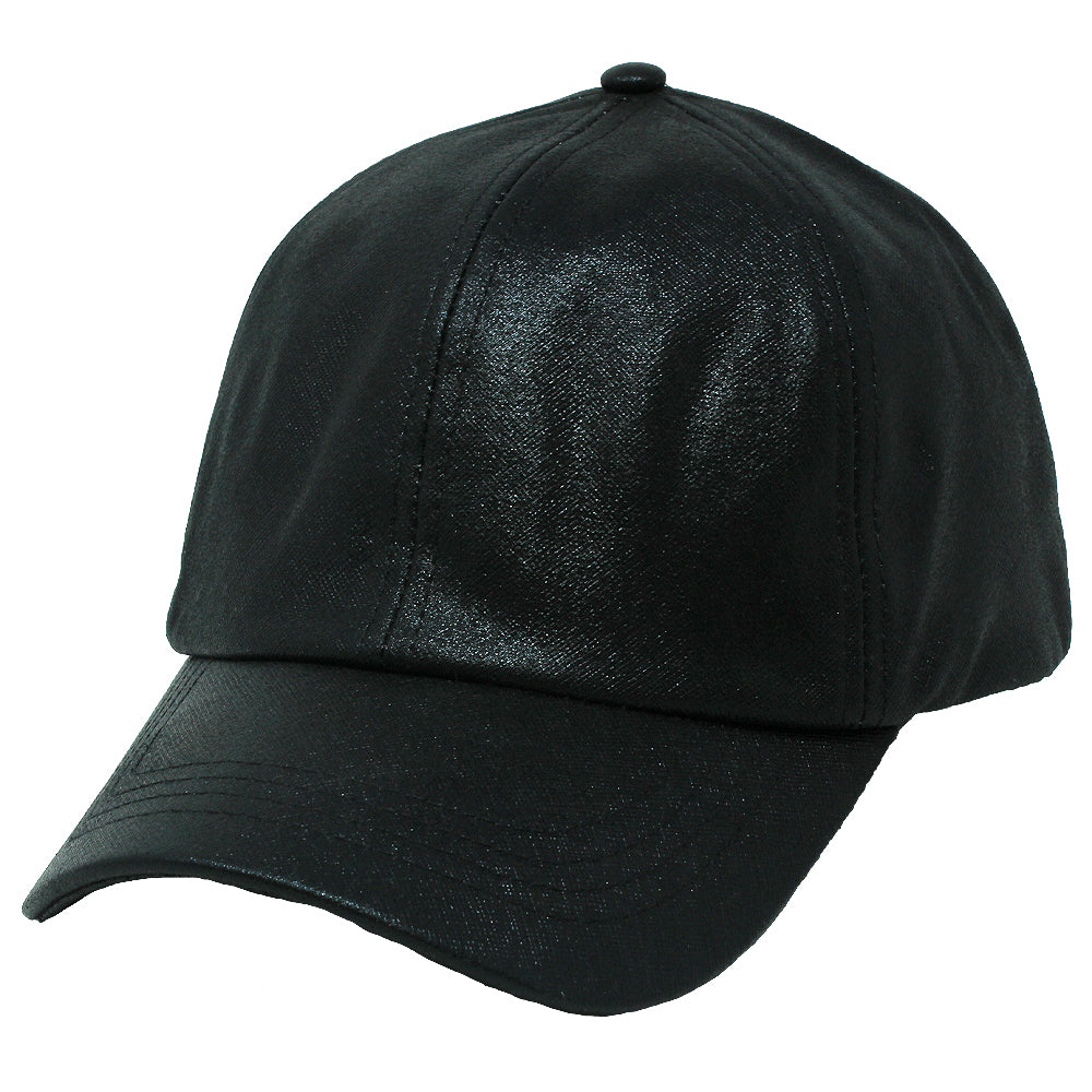 FWCAPT814 - Satin-Lined PU Leather Shiny Ponytail Cap - David and Young Fashion Accessories