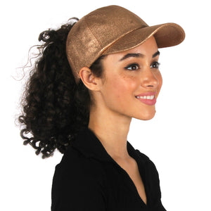 FWCAPT815 - Satin-Lined PU Leather Shiny Ponytail Cap - David and Young Fashion Accessories