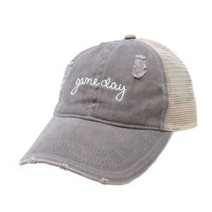 "LCAPMT569 - Mesh Back Ponyflo Cap with ""Game Day"" Embroidery - David and Young Fashion Accessories"