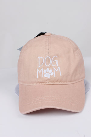 "GWCAP256L - ""Dog Mom (larger verbiage)"" Embroidery Vintage Wash Baseball Cap - David and Young Fashion Accessories"