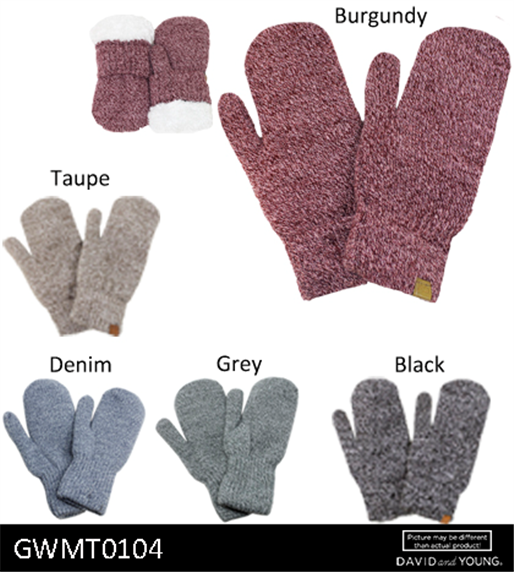 GWMT0104 - Marled Knit Mittens with Lining