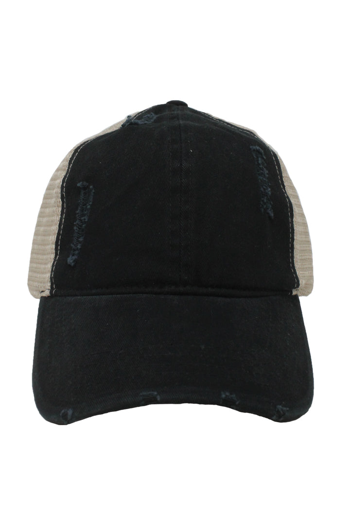 FWCAPM4117 - Washed Mesh Back Baseball Cap with Plastic Adjustable Closure - David and Young Fashion Accessories