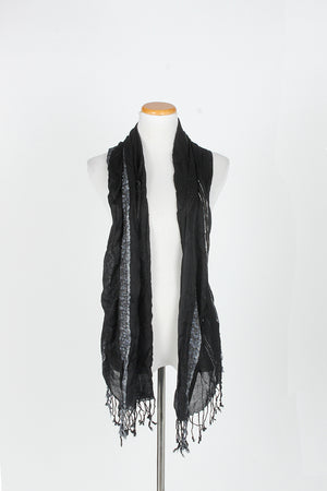 MJOV27661 - Solid Slubby Stripe Scarf Shawl With Fringe