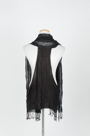 MJOV27661 - Solid Slubby Stripe Scarf Shawl with Fringe - David and Young Fashion Accessories