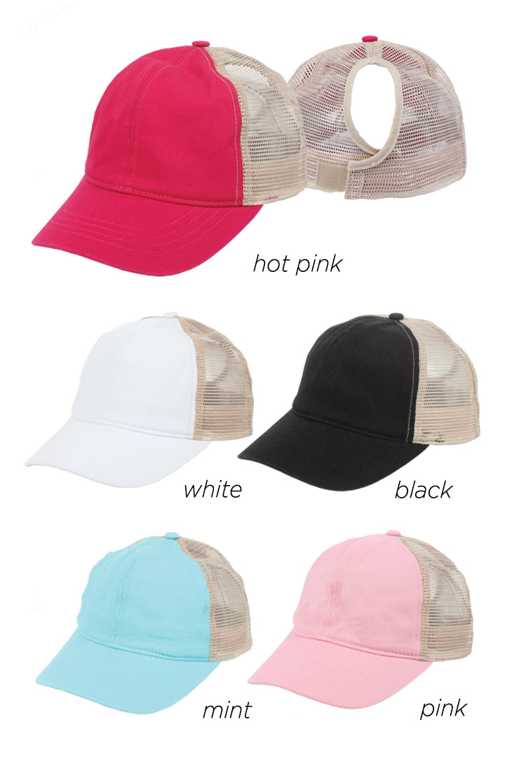 JRFWH10 - Kids Mesh Back Ponyflo Cap - David and Young Fashion Accessories