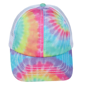 JRFWH26 - Tie Dye Mesh Back Kids Ponyflo Hat - David and Young Fashion Accessories