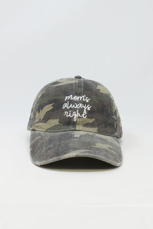 "LCAP0802-Distressed Camo Baseball cap ""Mom Always right"" Embroidery"