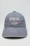 "LCAP1286 - ""Spread Love"" Embroidery on Solid Washed Baseball Cap - David and Young Fashion Accessories"
