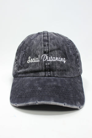 "LCAP1288 - ""Social Distancing"" Embroidery on Distressed Baseball Cap - David and Young Fashion Accessories"