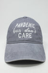 "LCAP1293 - ""Pandemic Hair Don't Care"" Embroidery on Solid Washed Baseball Cap - David and Young Fashion Accessories"