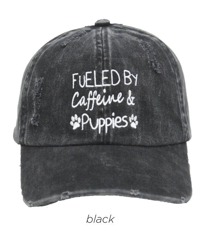 LCAP147 - Fueled by caffeine & Puppies Embroidery  vintage wash baseball cap - David and Young Fashion Accessories