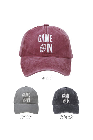 "LCAP158 - Cotton Baseball Cap with ""GAME ON"" Embroidery - David and Young Fashion Accessories"