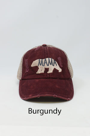 "LCAPM382- Washed Distressed Mesh Back Baseball cap ""Mama Bear"" Embroidery - David and Young Fashion Accessories"