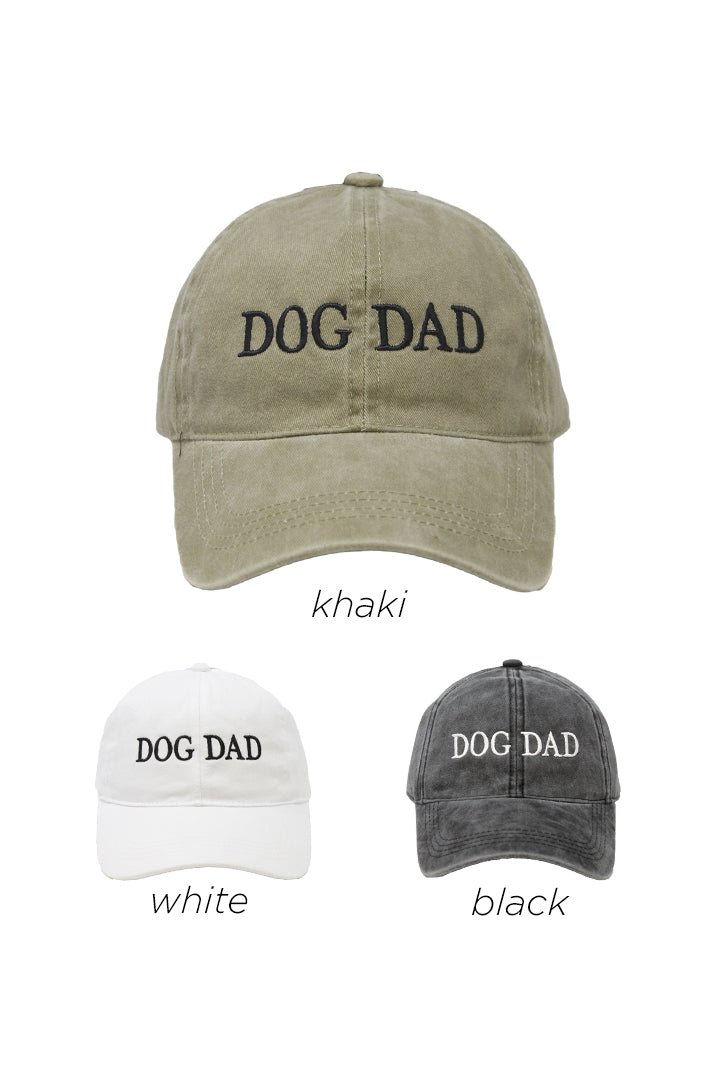 LCAP412 - DOG DAD Embroidered on Vintage Wash Cap - David and Young Fashion Accessories