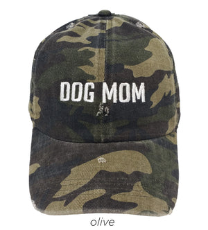 LCAP435 - Dog Mom Camo Embroidery Vintage Wash Baseball Cap - David and Young Fashion Accessories
