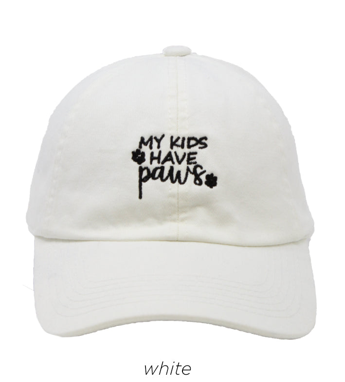 LCAP445 - MY KIDS HAVE PAWS Embroidery Baseball Cap - David and Young Fashion Accessories