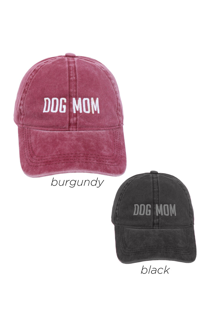LCAP469 - Dog Mom Embroidered on Vintage Wash Cap - David and Young Fashion Accessories