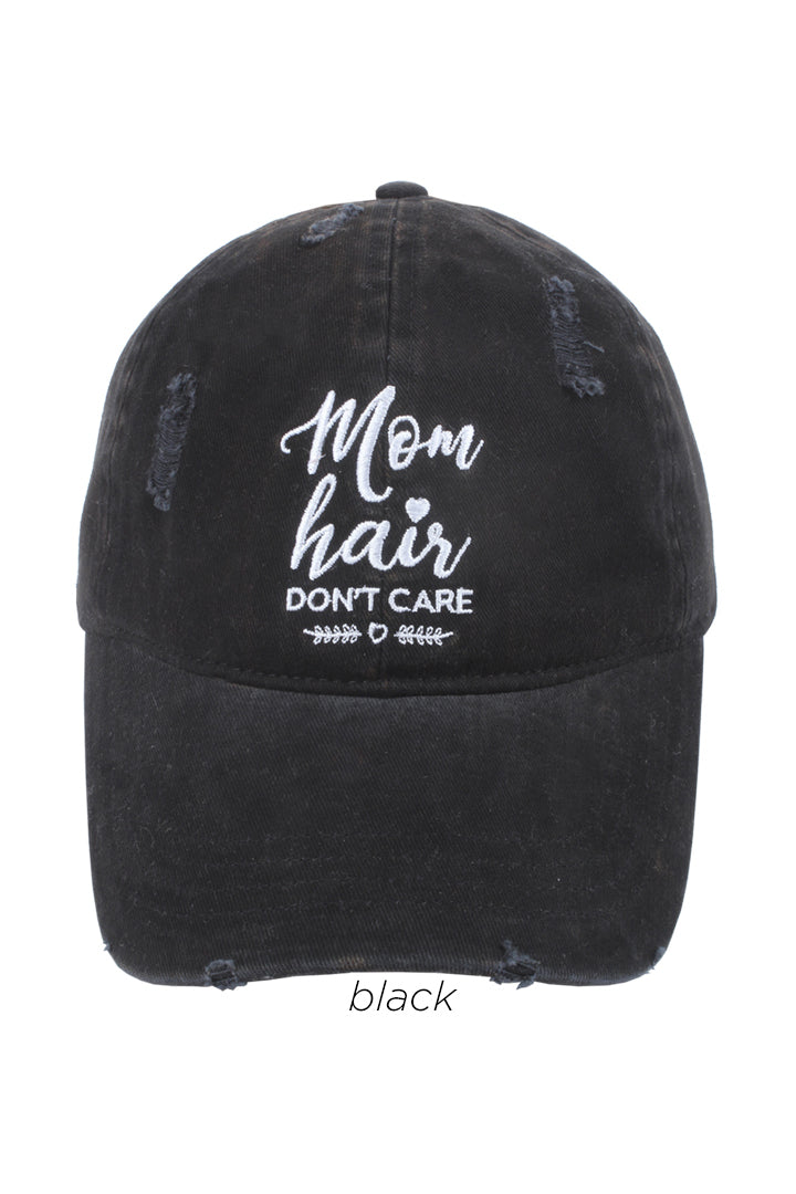 "LCAP629 - ""Mom Hair Don't Care"" Embroidered Baseball Cap - David and Young Fashion Accessories"