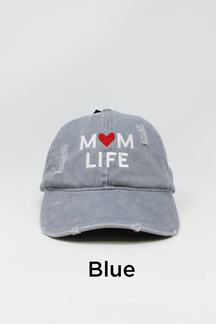 "LCAP743 - ""Mom Life"" Embroidery Washed Distressed Baseball Cap - David and Young Fashion Accessories"