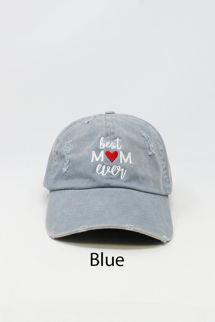 "LCAP757- ""Best Mom Ever"" Embroidery Washed Distressed Baseball Cap - David and Young Fashion Accessories"