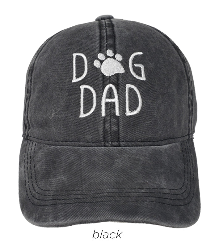 LCAP842 - Dog Dad Embroidery Vintage Wash Baseball Cap - David and Young Fashion Accessories