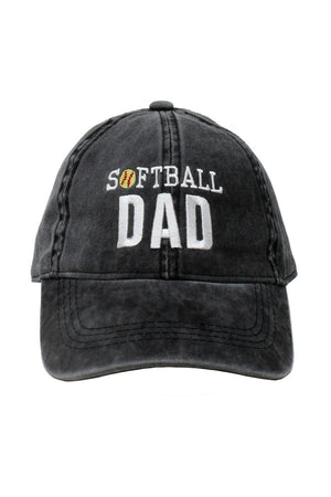 "LCAP927 - Washed Baseball Cap ""Softball DAD"" Embroidery - David and Young Fashion Accessories"