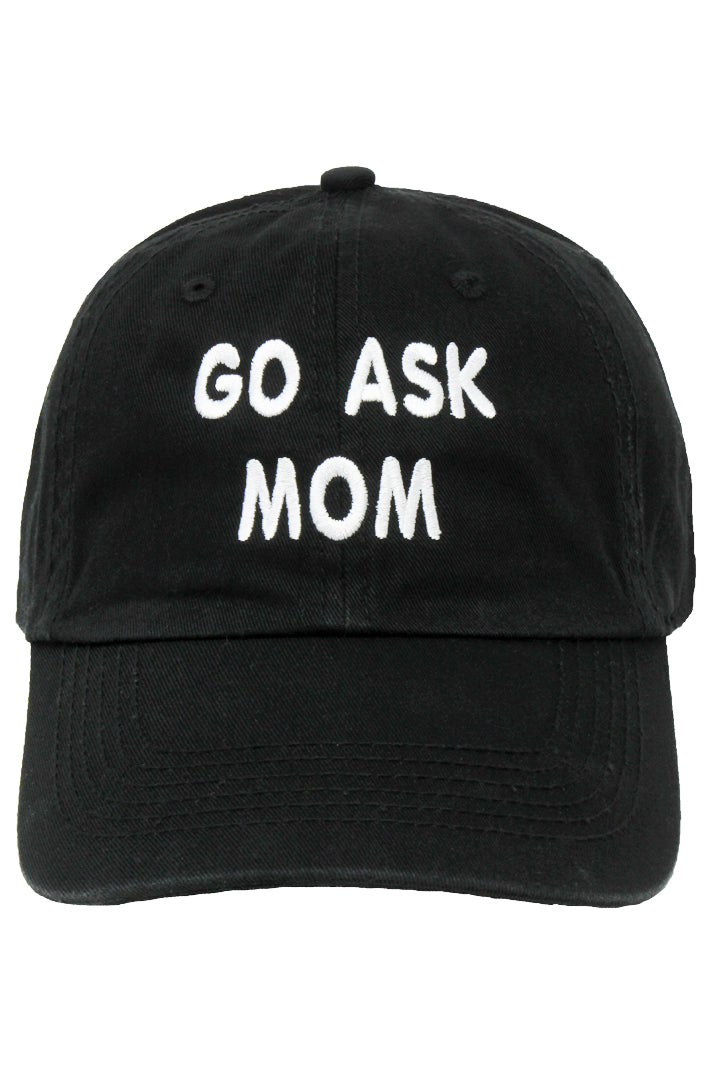 "LCAP955 - ""Go Ask Mom"" Embroidery Solid Baseball Cap - David and Young Fashion Accessories"