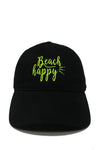 "LCAP978 - ""Beach Happy"" Neon Embroidery Vintage Washed Baseball Cap with - David and Young Fashion Accessories"