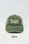 "LCAPM761- ""Baseball Mom"" Embroidery Washed Distressed Mesh Back Baseball Cap - David and Young Fashion Accessories"